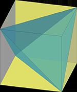 тетраэдр в кубе, чертежи многогранников, многогранники, геометрия, стереометрия